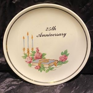 Silver 25th anniversary wedding collectors plate